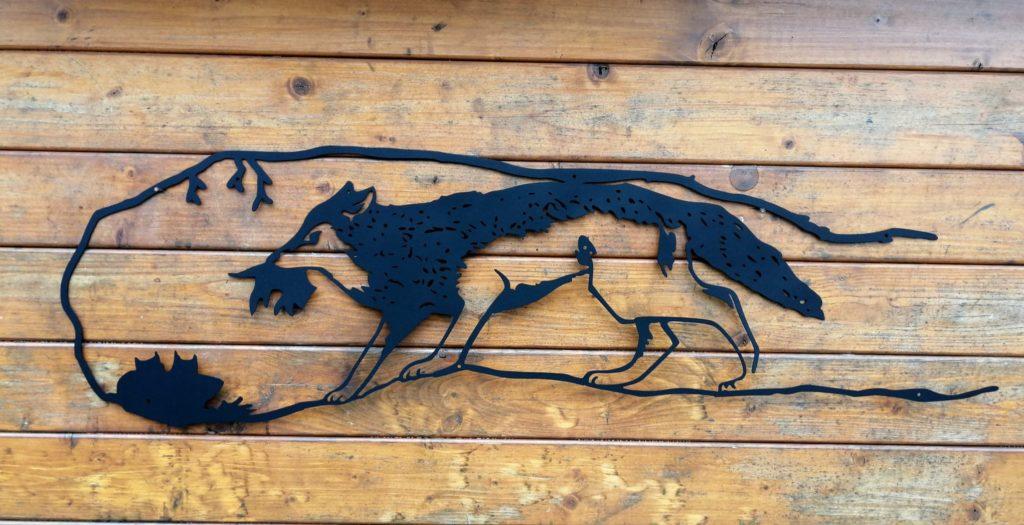 Affixe des chiens loups en inox noir.