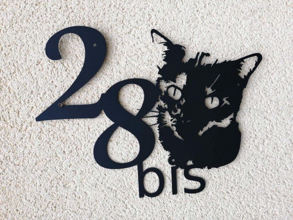 plaque numéro de maison chat